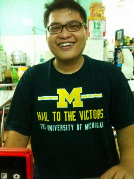 Duc with his a-MAIZE-ing new shirt.