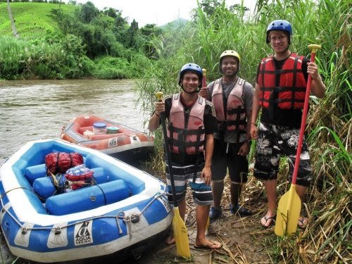 Kevin, myself, and Björn ready for hours upon hours of rapids!