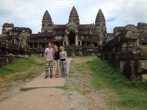 Tom and Sophie along with a friend in Angkor Wat of Cambodia.