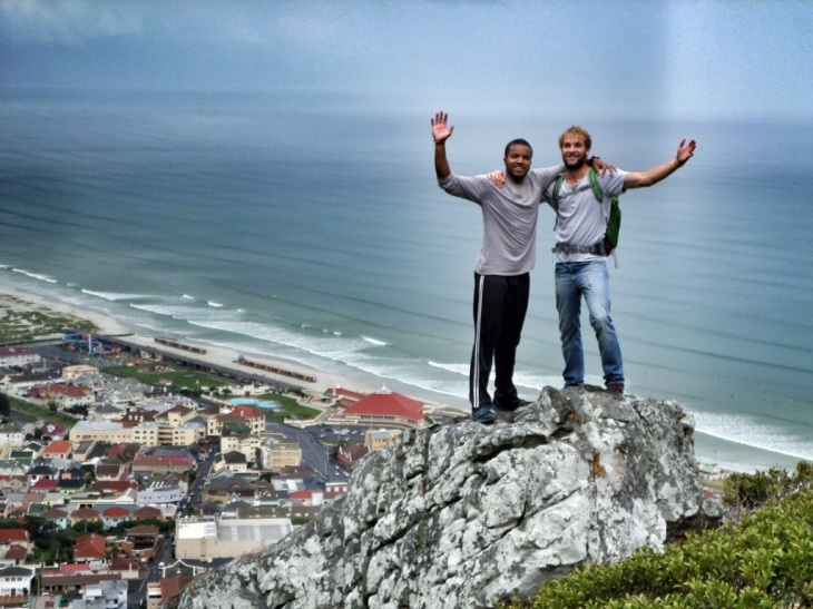 Me and Eric during a hike up Muizenburg mountain in South Africa.