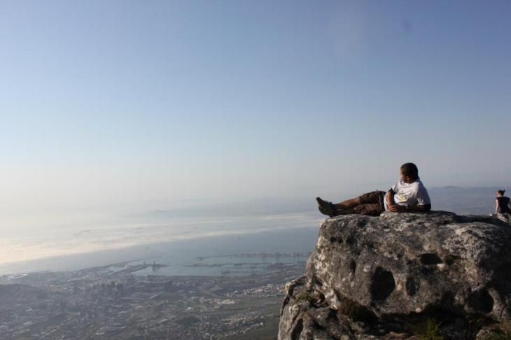 Me lounging on the famous Table Mountain, overlooking the scape of Cape Town!
