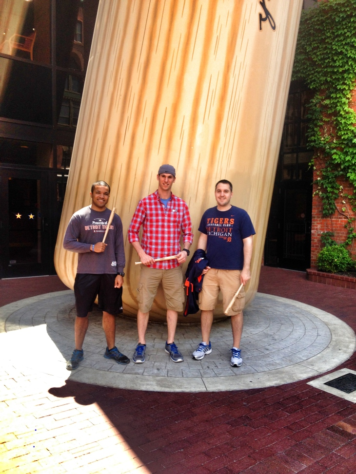 Myself, Jamie, and Matt in front of the world's largest bat.