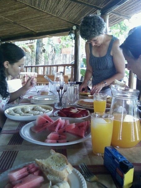 Breakfast everyday consisted of mixed fruits, bread, and tang!