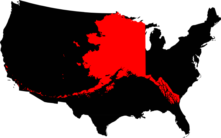 Size comparison of the State of Alaska compared to the lower 48 States